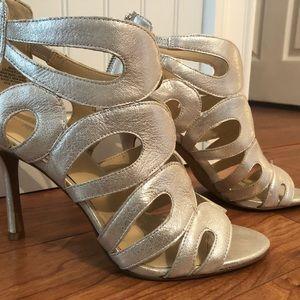 Nine West Metallic Open Toe Heels